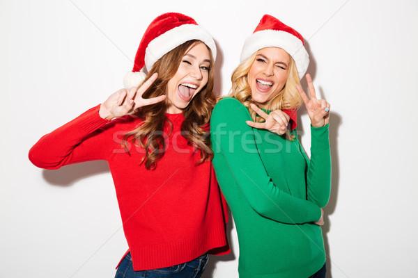 портрет два возбужденный девочек Рождества Сток-фото © deandrobot