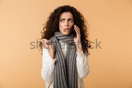 Portrait of beautiful caucasian woman sending air kiss to you Stock photo © deandrobot
