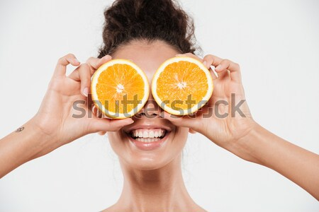 Close up beauty portrait of a cheerful half naked woman Stock photo © deandrobot