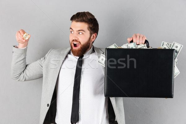 Ritratto gioioso imprenditore bitcoin Foto d'archivio © deandrobot