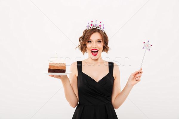портрет девушки корона пластина Сток-фото © deandrobot