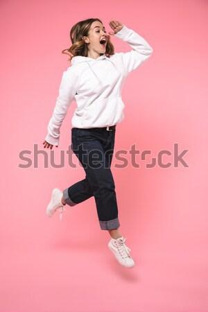 портрет счастливым удовлетворенный женщину Сток-фото © deandrobot