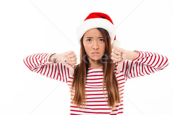 Stock fotó: Portré · szomorú · ázsiai · lány · karácsony · kalap