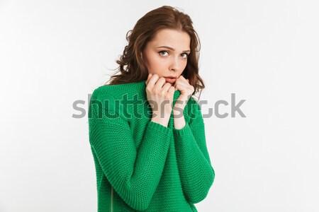 Portré ijedt fiatal nő néz kamera izolált Stock fotó © deandrobot