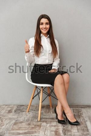 Teljes alakos kép boldog üzletasszony hivatalos visel Stock fotó © deandrobot