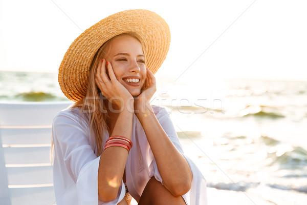 Сток-фото: портрет · европейский · женщину · 20-х · годов · соломенной · шляпе