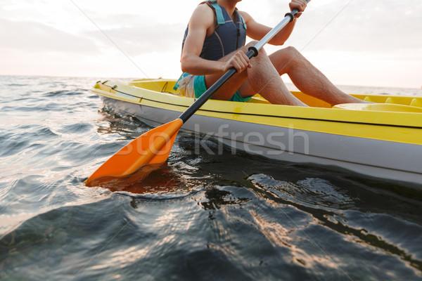 красивый мужчина озеро морем лодка фотография Сток-фото © deandrobot