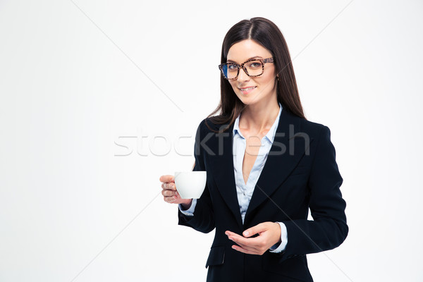 Businesswoman holding cup with coffee Stock photo © deandrobot