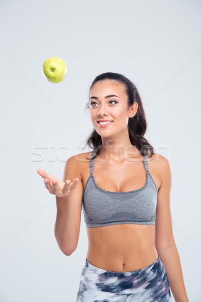 Portré boldog vonzó nő alma izolált fehér Stock fotó © deandrobot