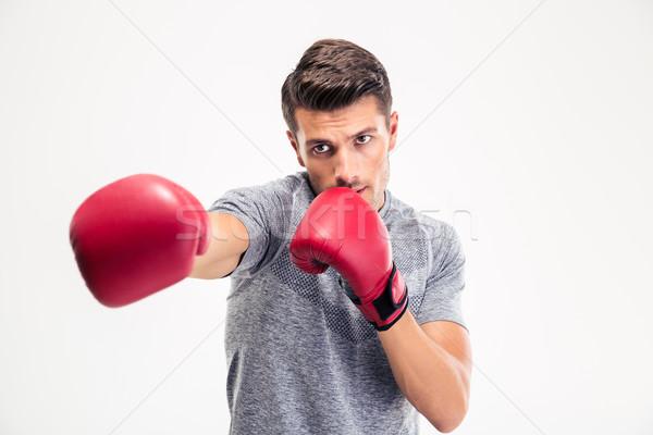 Man hitting at camera in boxing gloves  Stock photo © deandrobot