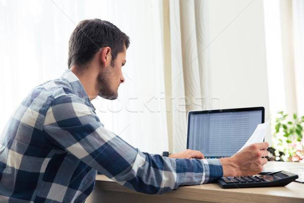 Homem retrato moço laptop Foto stock © deandrobot