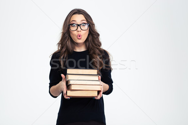 Maravilhado mulher óculos livros retrato Foto stock © deandrobot