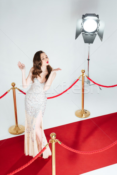 Cute woman posing on red carpet Stock photo © deandrobot