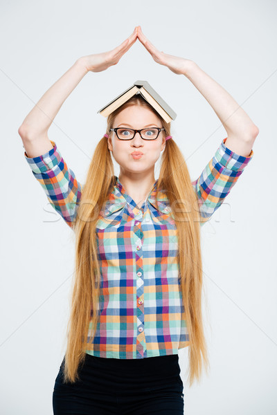 Female student inflated cheeks Stock photo © deandrobot