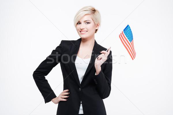 Stockfoto: Gelukkig · zakenvrouw · USA · vlag · geïsoleerd