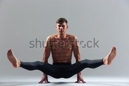 Bel homme yoga isolé blanche sport fitness Photo stock © deandrobot