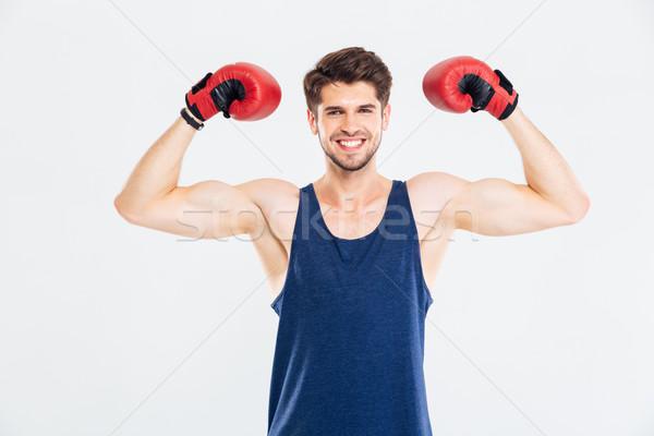 Gelukkig fitness man permanente Rood bokshandschoenen Stockfoto © deandrobot