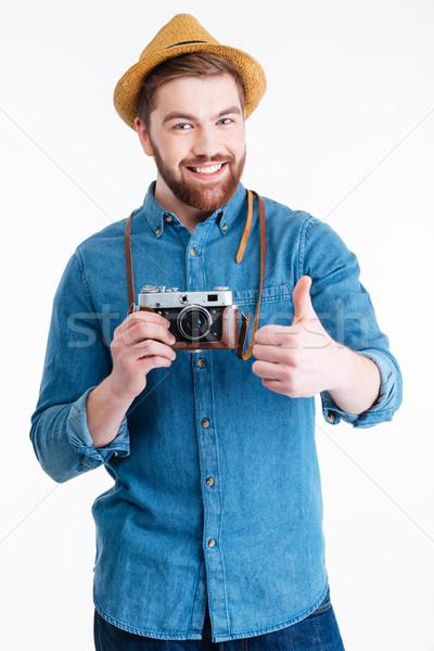Közelkép portré mosolyog férfi mutat oké Stock fotó © deandrobot