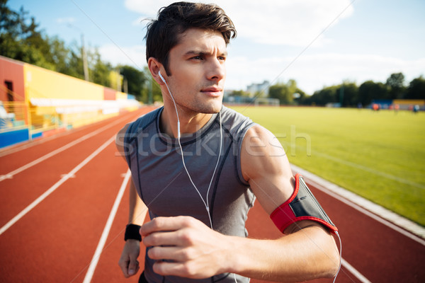 Portret sport man lopen Stockfoto © deandrobot