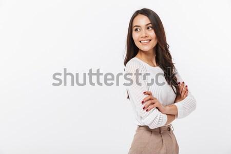 Stockfoto: Portret · glimlachend · asian · zakenvrouw · permanente · armen