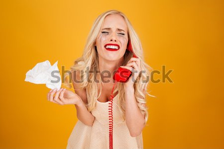 Young model with croissant Stock photo © deandrobot
