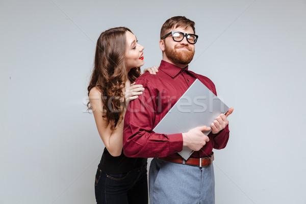 Mujer atrás masculina nerd Foto stock © deandrobot