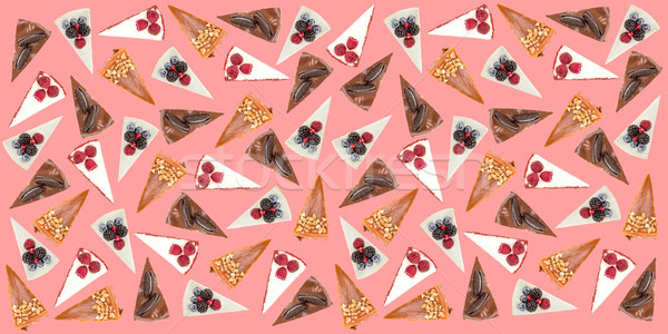 Horizontal pattern of different pies isolated over pink Stock photo © deandrobot