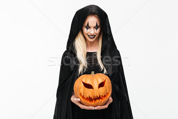 Portrait effrayant mal femme blonde halloween maquillage Photo stock © deandrobot
