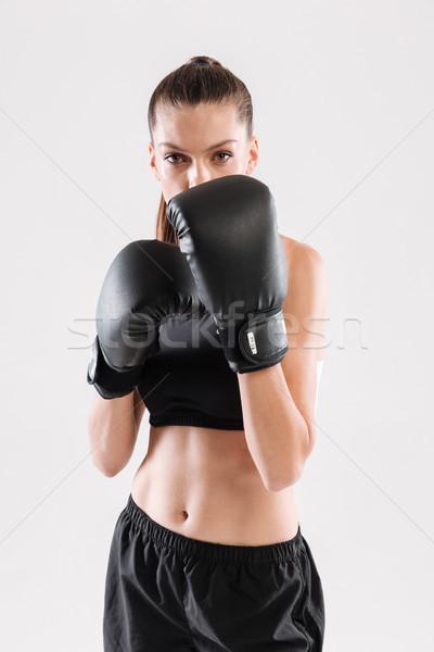 肖像 濃縮された スポーツウーマン ボクシンググローブ 準備 ストックフォト © deandrobot
