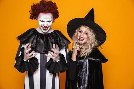 Zdjęcia stock: Emocjonalny · młodych · kobiet · halloween · kostiumy · zdjęcie · dwa