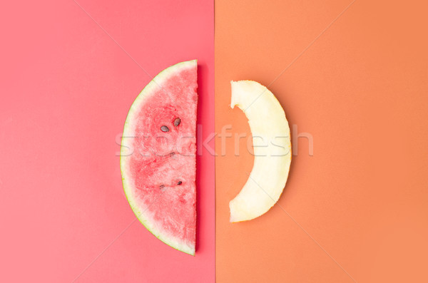 Slices of melon and watermelon isolated Stock photo © deandrobot