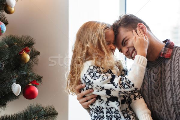 Aranyos szőke nő lány megérint arc csukott szemmel Stock fotó © deandrobot