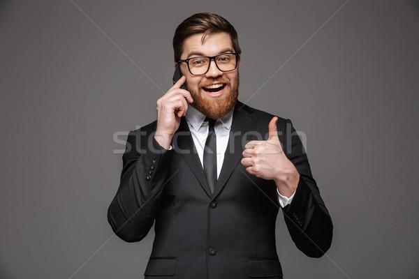 Stockfoto: Portret · gelukkig · jonge · zakenman · pak · praten