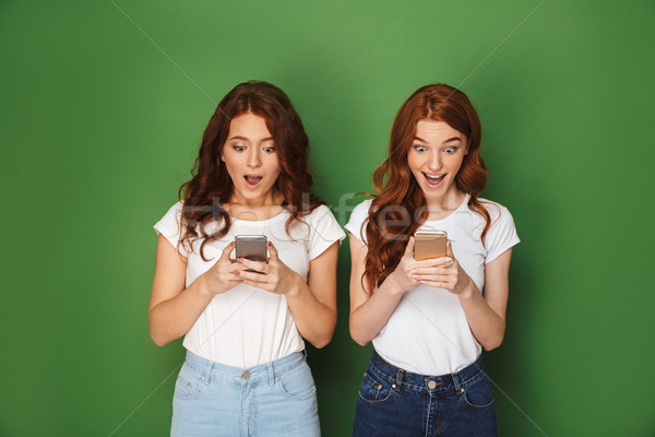 Portrait of two excited redhead women 20s posing at camera and u Stock photo © deandrobot