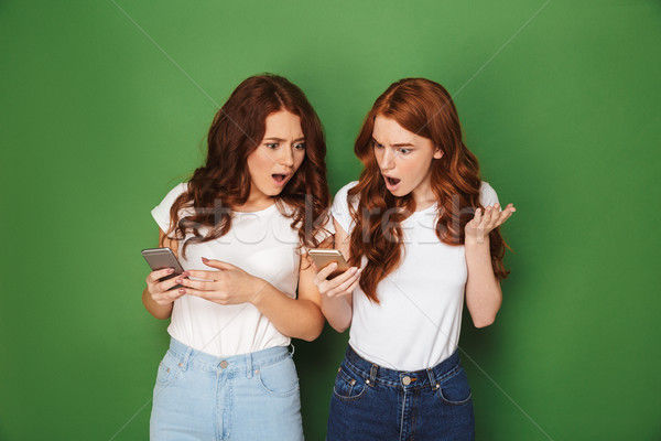 Portrait of two outraged women with red hair using cell phones a Stock photo © deandrobot