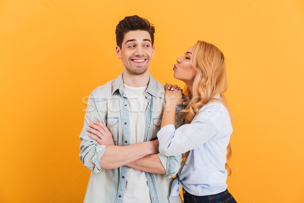 Portrait of young lovely people in basic clothing expressing lov Stock photo © deandrobot