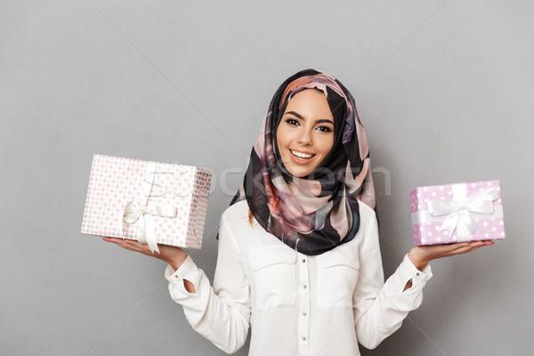 Retrato alegre jovem árabe mulher Foto stock © deandrobot