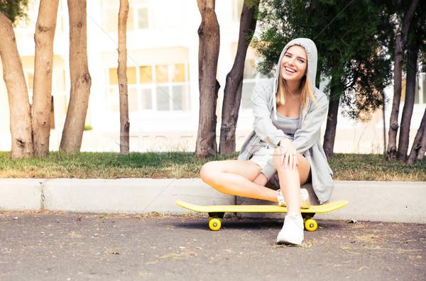 少女 スケート 屋外 幸せ 若い女の子 ストックフォト © deandrobot