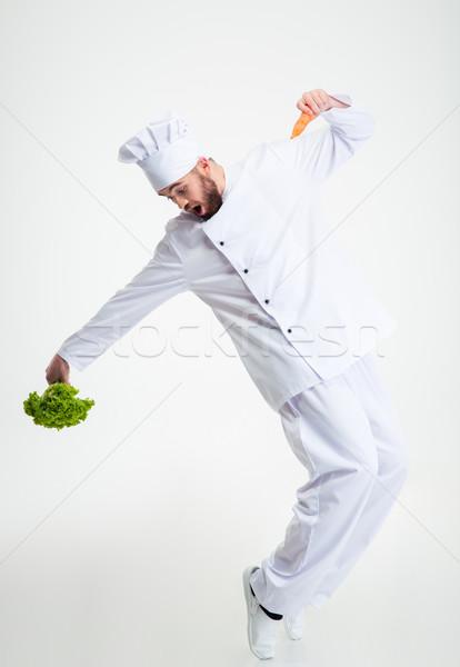 Vicces szakács szakács tánc teljes alakos portré Stock fotó © deandrobot