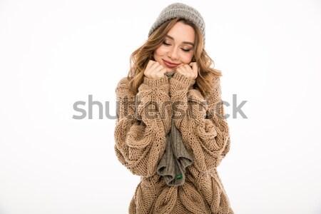 Portré fiatal gyönyörű lány kötött pulóver gyönyörű Stock fotó © deandrobot