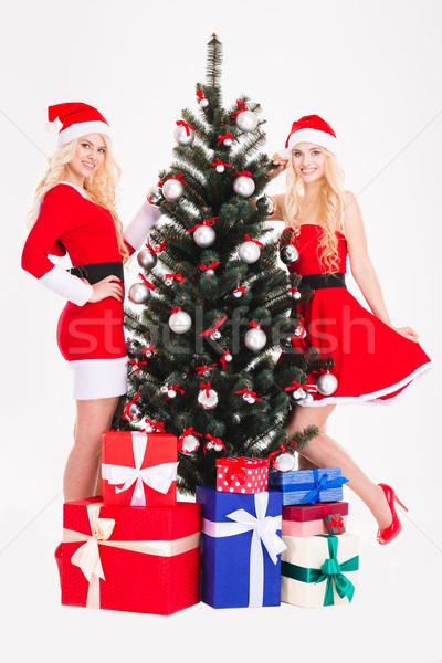 Güzel mutlu ikizler noel ağacı hediyeler Stok fotoğraf © deandrobot