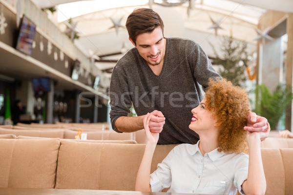 Boldog pár flörtöl étterem portré nő Stock fotó © deandrobot