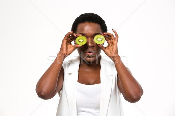 смешные африканских женщину киви глазах Сток-фото © deandrobot