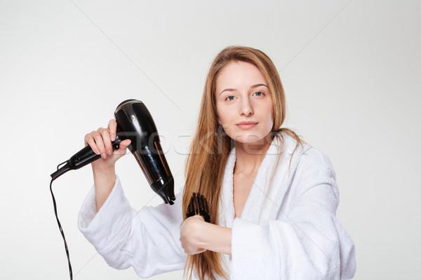 Mooie vrouw haren geïsoleerd witte gelukkig gezondheid Stockfoto © deandrobot