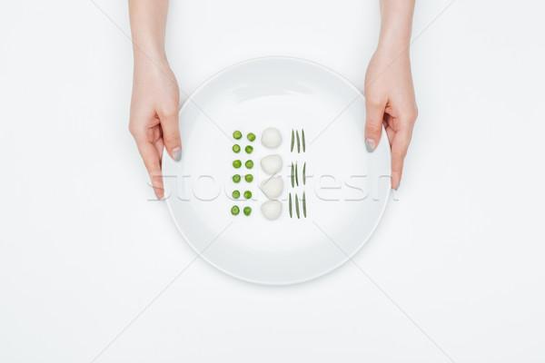 Foto stock: Superior · vista · placa · verde · chícharos · mozzarella