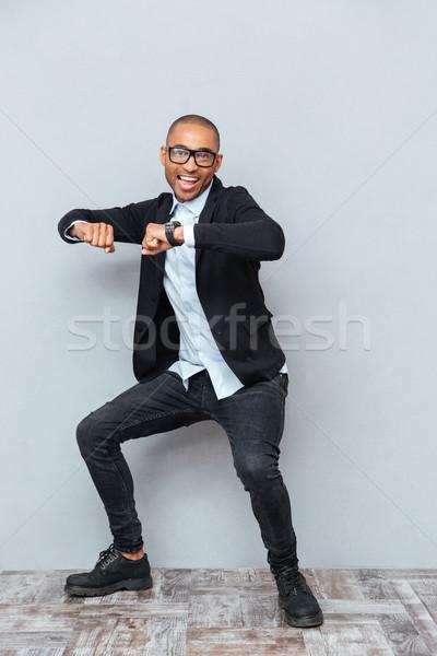 小さな ハンサムな男 ダンス グレー 歌 孤立した ストックフォト © deandrobot