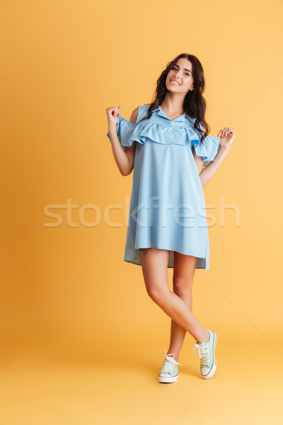 Jeune femme cheveux longs robe noire posant joli Photo stock © deandrobot