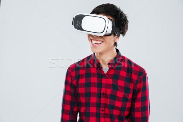 幸せ アジア 男 着用 バーチャル 現実 ストックフォト © deandrobot
