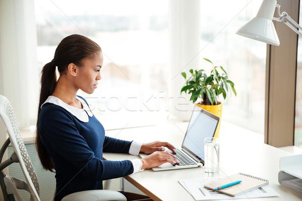 Сток-фото: африканских · деловой · женщины · используя · ноутбук · служба · платье · сидят