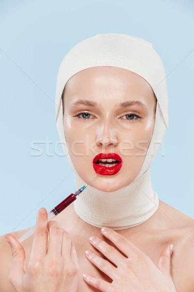 Szépség modell szokatlan kép injekciós tű néz Stock fotó © deandrobot